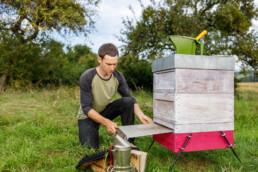 Daniel Brechensbauer bei der Kontrolle von Bienenvölkern auf Befall durch Varroa Milben auf einer Versuchsfläche des LLH Bieneninstituts Kirchhain. © Jan Bosch